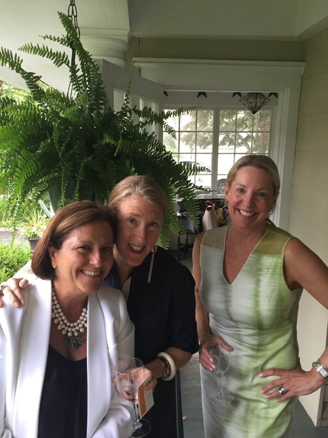 Harriet Mays, Susan Harrington & Clare Basius caught up on the front porch at Beth Dempsey's home.