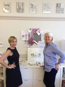 Carey Karlan (left) with artist Joan Cone (right) at the Showhouse on the Green in Fairfield